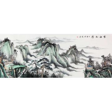 梁洪波小六尺整张,横幅国画山水云海松涛字画之家