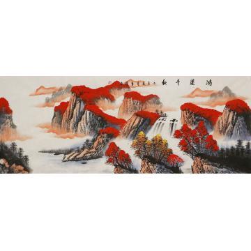 李章伟小六尺整张,横幅国画山水鸿运千秋字画之家