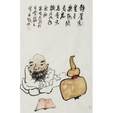 熊宗艺国画人物静鉴图书寻乐趣字画之家