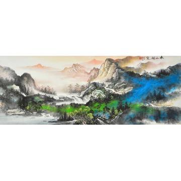 莫新旺小六尺整张,横幅国画山水春山烟岚字画之家