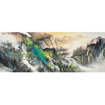 莫新旺小六尺整张,横幅国画山水夏山晓晴字画之家
