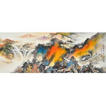 莫新旺小六尺整张,横幅国画山水红叶黄花秋景宽字画之家