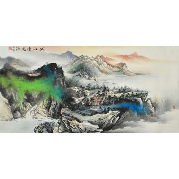 莫新旺四尺整张,横幅国画山水湖山晓晴字画之家