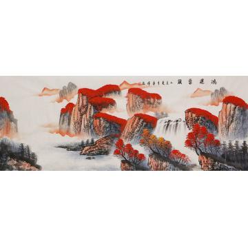 李章伟小六尺整张横幅国画山水鸿运当头字画之家