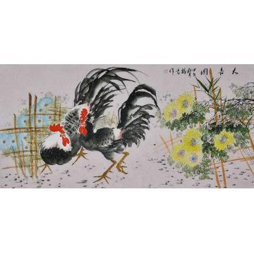 杨雪四尺整张,横幅国画花鸟大吉图字画之家