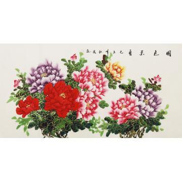 朱秋凤四尺整张,横幅国画花鸟国色天香字画之家
