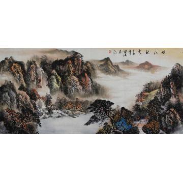 雷淇四尺整张,横幅国画山水峡江秋色字画之家