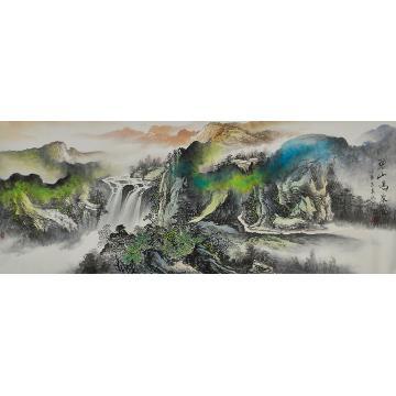 莫新旺小六尺整张,横幅国画山水碧山鸣泉图字画之家