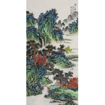 王春雨四尺整张,竖幅国画山水源远流长字画之家
