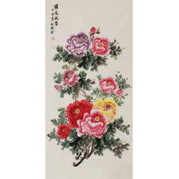 朱秋凤四尺整张,竖幅国画花鸟国色天香字画之家