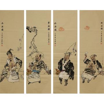 王琴四条屏国画人物醉酒好酒乐酒品酒字画之家