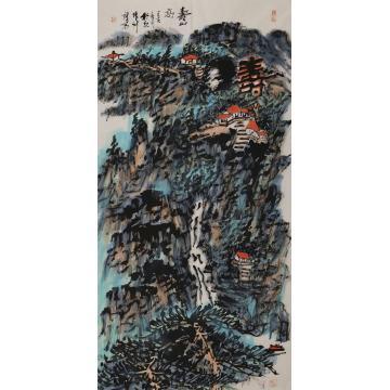 张新庆四尺整张,竖幅国画山水寿山高字画之家