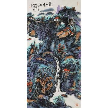 张新庆四尺整张,竖幅国画山水寿山情韵字画之家