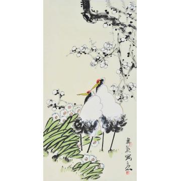李春英三尺整张竖幅国画花鸟相依字画之家