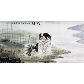 翟俊梅四尺整张横幅国画动物旺财字画之家