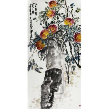 孙文四尺整张,竖幅国画花鸟三千年结实之桃字画之家