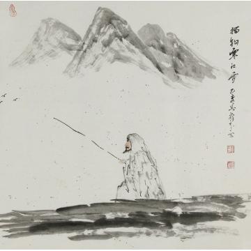 李建华国画人物独钓寒江雪字画之家