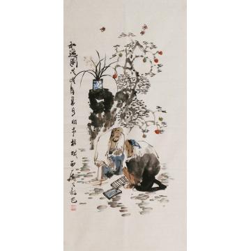 周佳惠三尺整张竖幅国画人物和逸图字画之家