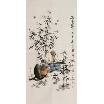 周佳惠三尺整张竖幅国画人物知音图字画之家