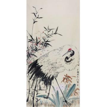 李辉四尺整张,竖幅国画花鸟鹤寿字画之家