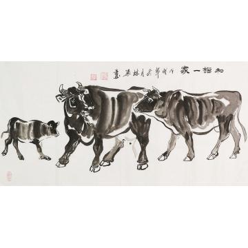 郭栋梁四尺整张横幅国画动物和谐一家字画之家