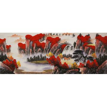 张茂林小六尺整张,横幅国画山水福山寿水字画之家