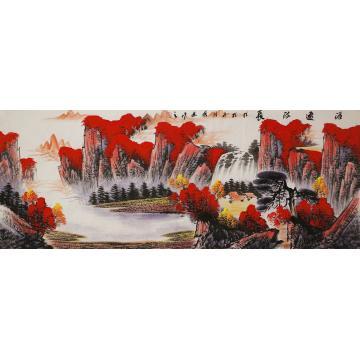 张茂林小六尺整张横幅国画山水源远流长字画之家
