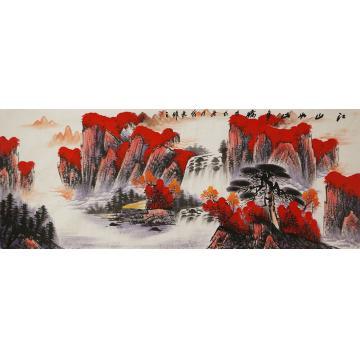 张茂林小六尺整张横幅国画山水江山如此多娇字画之家