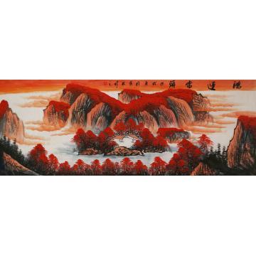 张茂林小六尺整张横幅国画山水鸿运当头字画之家