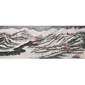 李胜祥小六尺整张横幅国画山水北国风光字画之家