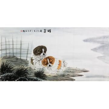 翟俊梅四尺整张横幅国画动物旺运字画之家