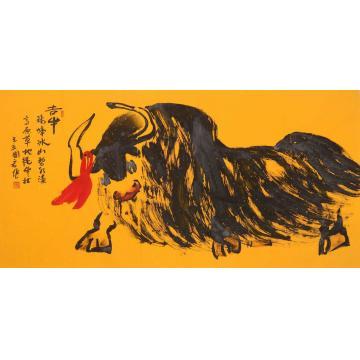 董国宏四尺整张,横幅国画动物吉牛字画之家