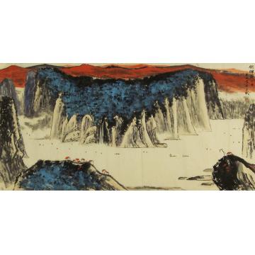 吴金龙四尺整张横幅国画山水朝晖图字画之家