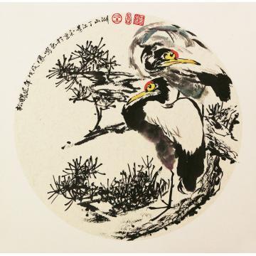 王孝华四尺八开斗方国画花鸟松鹤延年-卡纸作品字画之家