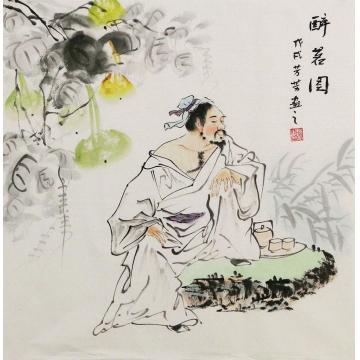 赵芳芳四尺斗方国画人物醉茗图字画之家