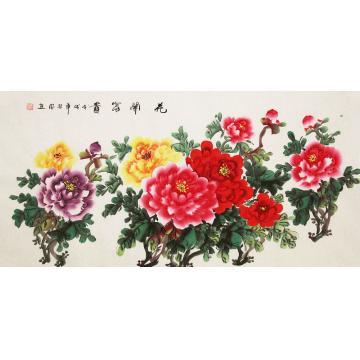 朱秋凤四尺整张横幅国画花鸟花开富贵字画之家