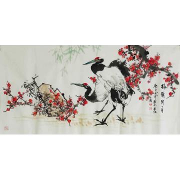 王长纯三尺整张横幅国画花鸟梅鹤同春字画之家