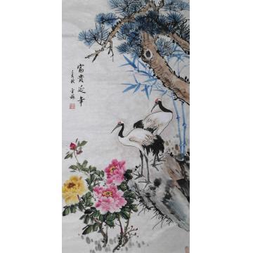 白金梅四尺整张,竖幅国画花鸟富贵延年字画之家