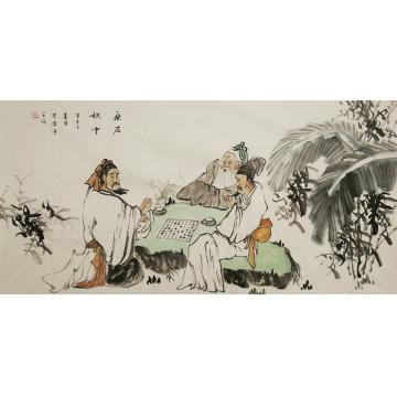 谭述乐四尺整张横幅国画人物乐在棋中字画之家