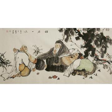 谭述乐四尺整张,横幅国画人物禅茶一味字画之家