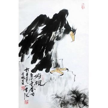 庞九永四尺三开竖幅国画动物俯视字画之家