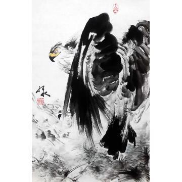 庞九永四尺三开竖幅国画花鸟雄鹰字画之家