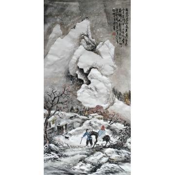 于恩沛四尺整张,竖幅国画人物风雪夜归人字画之家