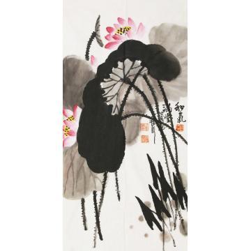 刘世杰三尺整张竖幅国画花鸟和气满堂字画之家