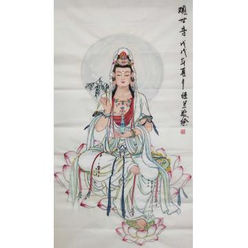 刘继兰四尺整张竖幅国画人物观世音字画之家