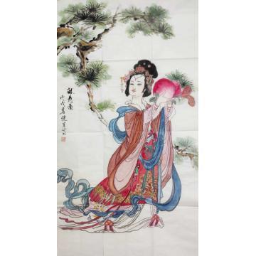 刘继兰四尺整张,竖幅国画人物献寿图字画之家