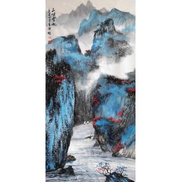 于恩沛四尺整张竖幅国画山水三峡云帆字画之家