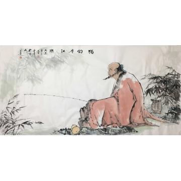 郭二林四尺整张,横幅国画人物独钓春江乐字画之家
