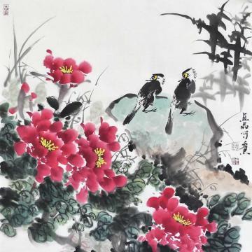 吴贞品四尺斗方国画花鸟富贵双栖字画之家