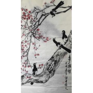 杨许重四尺整张竖幅国画花鸟喜上眉梢字画之家